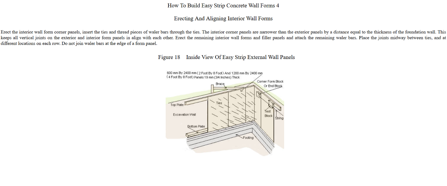 4 Easy Strip Concrete Wall Form Construction